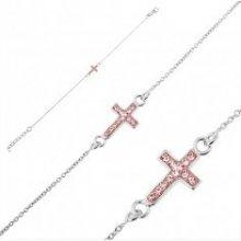 Šperky eshop strieborný náramok krížik s ružovými zirkónmi U16.12 6ea891accfd