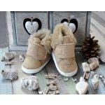 Lola Baby Detské topánočky s kožušinkou béžové