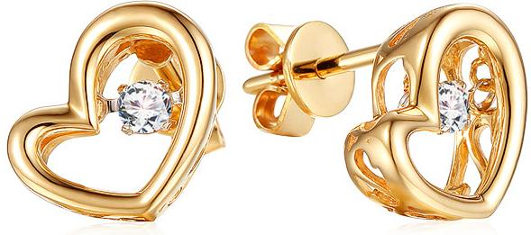 2975fa144 iZlato Design zlaté náušnice s diamantmi Dancing Diamonds srdiečka IZBR551N