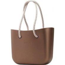O bag kabelka bronz s koženkovými držadlami natural