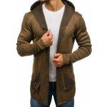 692f765cc56d Hnedý pánsky predĺžený rozopínací sveter s kapucňou BOLF 2116
