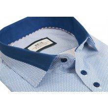 b4c613329810 Bielo- modrá pánska košeľa BEVA KLASIK dlhý rukáv