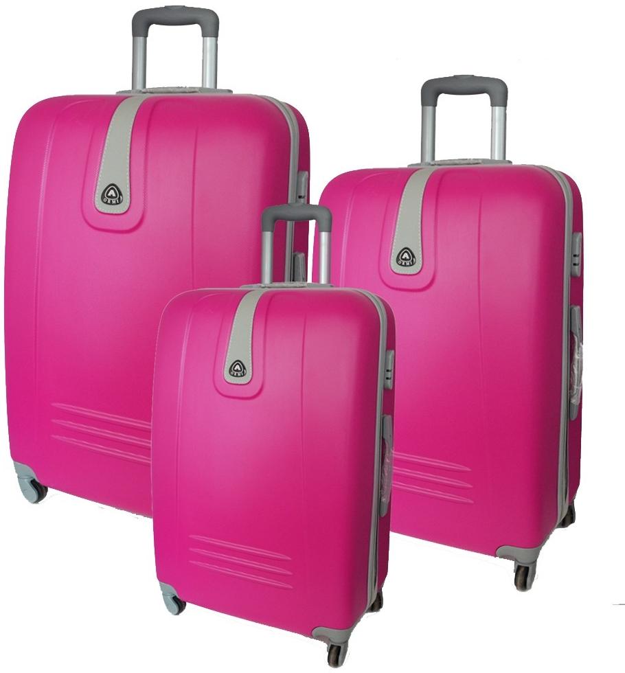 57af91a79ead8 ORMI KF6 Sada 3 škrupinových cestovných kufrov, ružová, 70x45x24cm /  60x40x21cm / 50x35x19cm