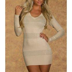 6c311ff29619 Dámsky dlhý sveter Estelle krémové pletené šaty alternatívy - Heureka.sk