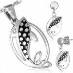 Sada šperkov z ocele náušnice a prívesok, rybky R19.20