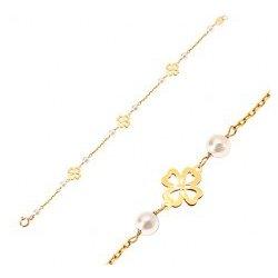 da5eedec4 Šperky eshop náramok zo žltého zlata biele guľaté perličky a štvorlístky  pre šťastie GG19.07
