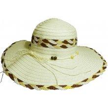 1b4a73072 Jenifer SK-1424CREAM Dámsky slamený klobúk s mašľou a korálkami krémový