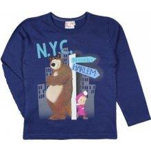 E plus M Chlapčenské tričko Máša a Medveď - tmavo modré