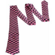 kravata X-Trader 3044 Chessboard Black/Pink