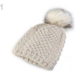 66b24fffd Zimná pletená čiapka s brmbolcom bežova biela 1ks od 8,80 € - Heureka.sk