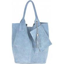 5ef74ac7e0 kožená kabelka v úprave semiš 804 Nebesky Modrá