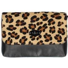 Made In Italy kožená kabelka 5078 leopard čierna 569b372d7df