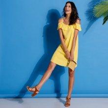 Jednofarebné šaty s volánom žltá c1e1ee21b4e