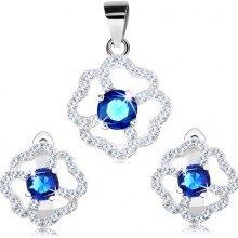 2cb8d7e9b Šperky eshop Set náušníc a prívesku zo striebra modro-číry trblietavý kvet  R28.24