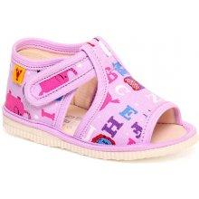 papuče motív fialová abeceda Detská