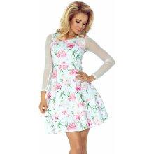 Biele šaty s tylovým rukávmi a kvetovaným vzorom 141-5 5d5ec86a7bb