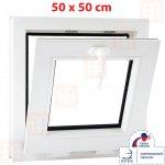 ALUPLAST Plastové okno 50x50 cm biele sklopné pivničné 6 komôr