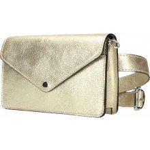 a5b5110d17c5 Made In Italy kožená kabelka na rameno na opasok zlatá