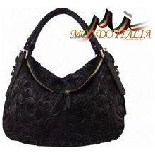 Made In Italy kožená kabelka 1259 čierna 6685994063d