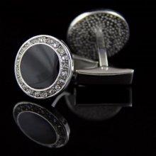 Knoflickarna.CZ manžetové gombíky okrúhly čierny kryštál s kamienkami oceľ 0354