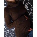 Tehotenská roláková tunika s opaskom hnedá