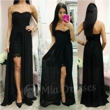 Čipkované šaty so šifónovou sukňou čierna