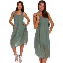 32579858e137 Nádherné módne letné bavlnené šaty BOHO ITALY TC665 Khaki