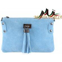 Made In Italy kožená kabelka 812 nebesky modrá 471dba10616