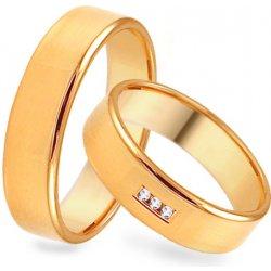 9e9e693be iZlato Design Zlaté hladké svadobné obrúčky so zirkónmi SKOB079 ...