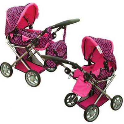 Detský kočík pre bábiky Doris kombinovaný Farba: Ružovo-čierny vzor
