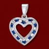 Silver.ag Prívesok zlatý, diamanty, zafíry, srdce P1014