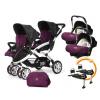 CASUALPLAY - Set kočík pre dvojičky Stwinner, 2 x autosedačka Baby 0plus, 2x BaseFix Baby 0 a Bag 2016 - PLUM