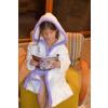 c869d3989259 Detský župan s kapucňou biely s fialovým lemom a výšivkou 74-164 110