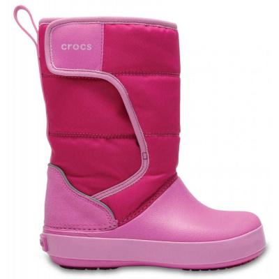 Crocs dievčenské snehule Kids' LodgePoint Snow Boot 204660-6LR 27-28 ružová