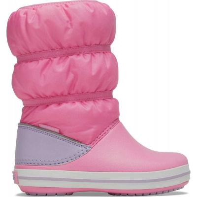 Crocs dievčenské snehule Crocband Winter Boot K Pink Lemonade/Lavender 206550-6QM 38-39 ružová