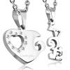 Prívesky pre zamilovaných, monogram lásky a srdce, oceľ